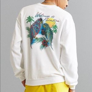welcome to paradise white crewneck
